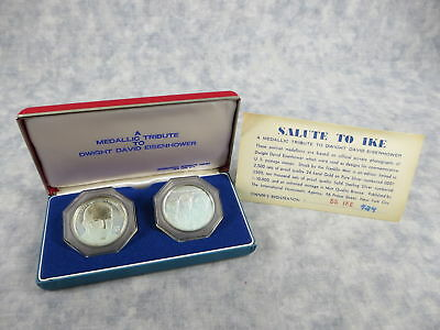 Rare SALUTE TO IKE Medallic Tribute to Eisenhower 1969 Silver Medal Set ~50g