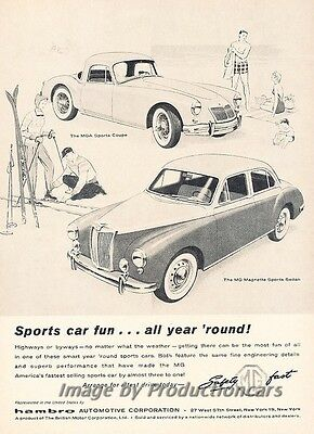 1958 MG MGA and Magnette Original Advertisement Print Art Car Ad J785