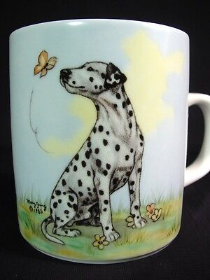 Vintage Dalmation & Butterfly Coffee Mug Artist Mary Jung Produced by Ivy Design