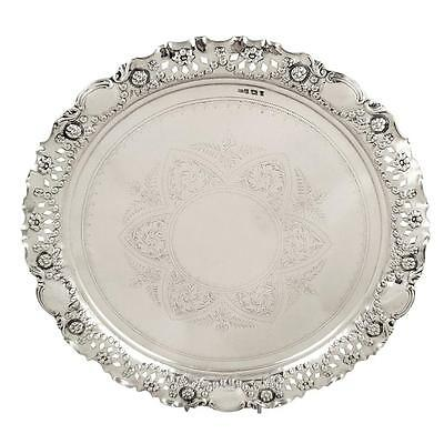 Antique Victorian Sterling Silver Pierced Tray/salver - 1900