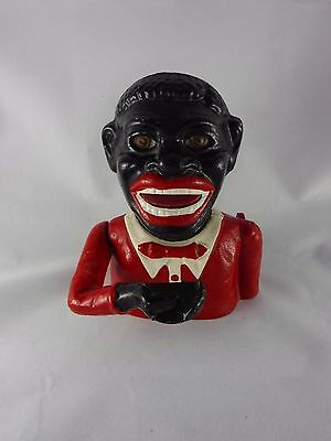 Vintage 1890 - 1900 Cast Iron Jolly Negro Money Box. For Serious Collector. Mint