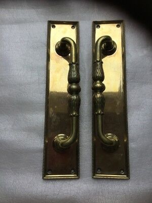 Vintage Large Ornate Pair Reclaimed Brass Door Pub Hotel Pull Handles Cast Iron?