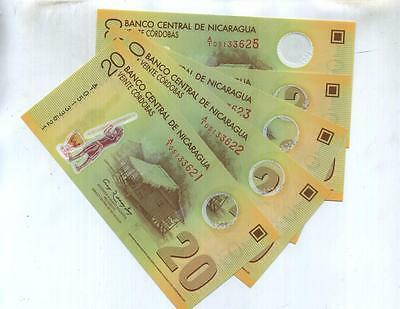 Nicaragua 2007 20 Cordobas Currency Note Lot Of 5 Consecutively Numbered Cu 45F