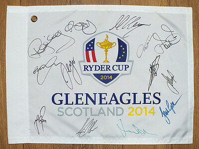 Ryder Cup 2014 Gleneagles pin flag signed by full European team. Proof. COA.
