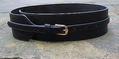 S - New Stylish Wide Black Leather Belt womens with gold buckle FREE POST*