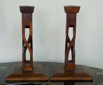 A Pair Of Treen Arts And Craft's/ Deco Candle Sticks Circa 1920's