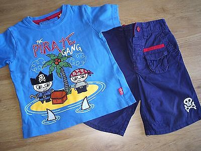 Next Two Piece Set Pirate Tshirt Top & Blue Shorts Age 12-18 Months