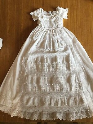 Antique Victorian Christening Gown & Petticoat Lace frills Pintucks Vintage