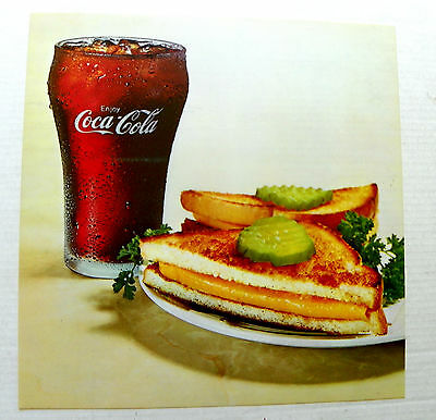"""1960's """"ENJOY COCA-COLA"""" GLASS W/GRILL CHEESE TRANSPARENT PLASTIC CHANNEL SIGN"""