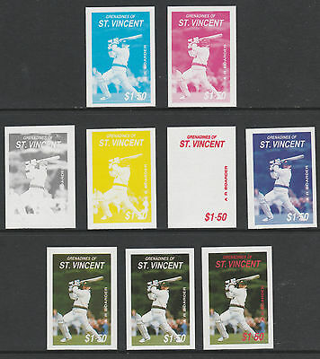 St Vincent Grenadines 4835 - 1988 BORDER (Cricketer) set of 9 PROGRESSIVE PROOFS