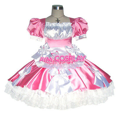 pink Satin lockable french sissy maid   dress Unisex Tailor-made [G363]