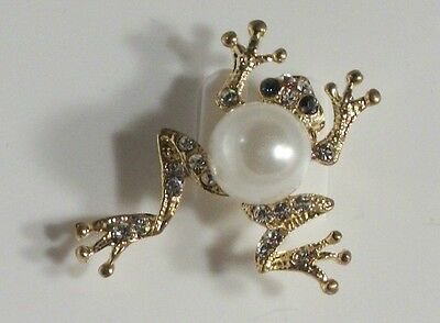 Gold Plated Pearl with Clear and Green Crystal Frog Pin Brooch