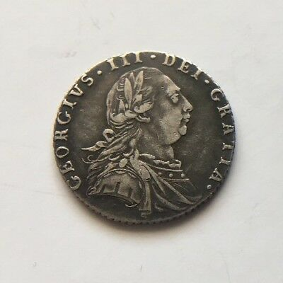 1787 GEORGE 111 SIXPENCE COIN. SOLID SILVER,  VERY NICE CONDITION. Ref.4