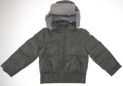 Columbia Girl's size 4/5 Puffer Down Bomber Winter Jacket Gray Hooded Coat