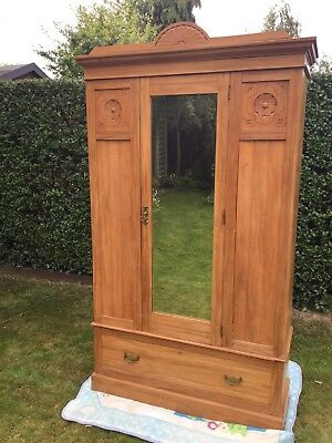 Antique Victorian / Edwardian Satinwood Wardrobe With Draw Vintage