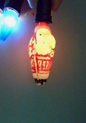 c-6 Santa with Sack Painted Milk Glass Christmas Light Working Lot #5