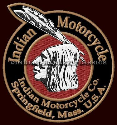 "INDIAN MOTORCYCLE EMBROIDERED PATCH ~4-1/2"" x 3-7/8"" CHIEF SCOUT TWIN ROADMASTER"