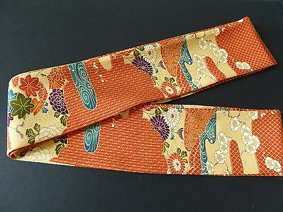 "Japanese Obi Belt Vintage Silk Kimono Fabric 78"" x 3""/Made in USA"