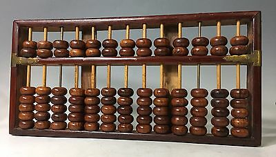 Antique Chinese LOTUS FLOWER BRAND Rosewood Abacus 91 Beads