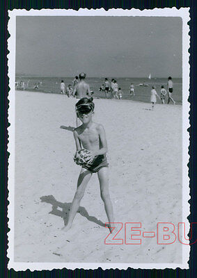 vintage photo SKINNY YOUNG BOY BEACH BATHING SUIT 1950s