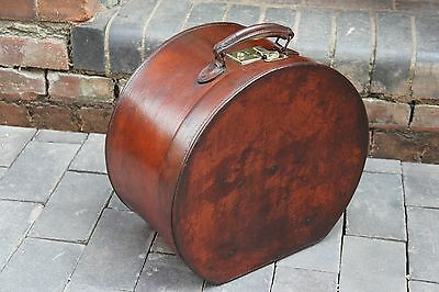 Large English Round Leather Hatbox Case Royal Ascot