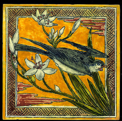 STRIKING SUPER EARLY PAINTED ARTS & CRAFTS BIRD  tile  by W B SIMPSON 1860-70's