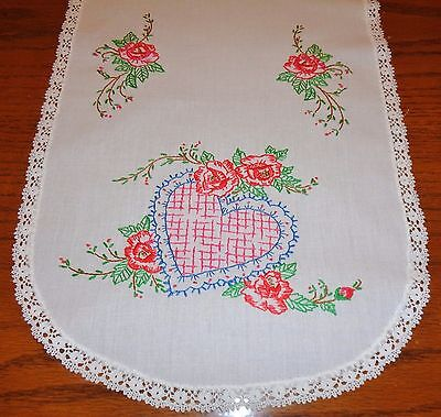Hand Embroidered Vintage Cotton Dresser Scarf Runner Hearts Roses 12.5 x 39.5