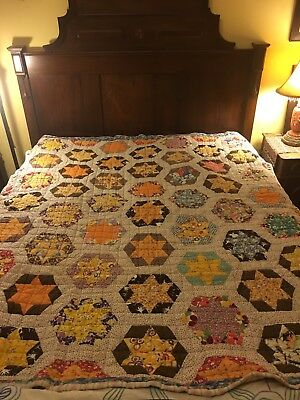 1930s Star Patch Quilt Blanket  ,Check It Out !