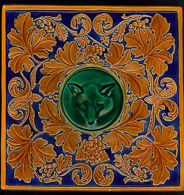 RARE MAJOLICA EMAIL OMBRANTS FOX AND VINE tile  by WEDGWOOD 1875