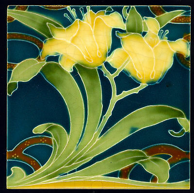 ART NOUVEAU LILLY tile DESIGN SOLON manufactured by MINTON CHINA WORKS 1900s