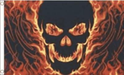 FLAMING SKULL ( SKULL ON FIRE ) FLAG 5ft X 3ft