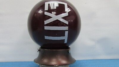 "Rare Art Deco Ruby Glass Exit Movies Office Theatre Lamp Light Globe 6"" Diameter"