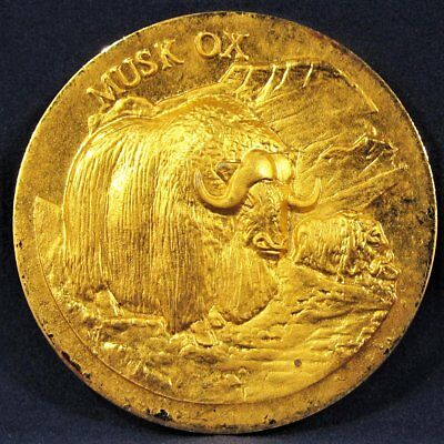 """Longines Wittnauer 24K Gold Plated Sterling Silver """"Musk Ox"""" Medal AD345"""