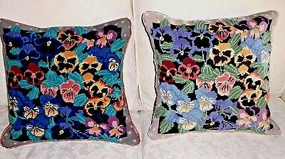 """Stunning Pair Of Vintage Needlepoint Cushion/covers....pansies.... 16"""" Sq."""