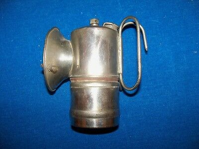 "Scarce Unusual Antique Nickel ""itp"" Coal Mine Mining Carbide Lamp Light 1916"