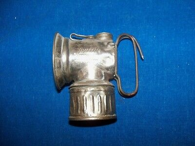 Antique Nickel Coal Mine Mining Justrite Carbide Lamp Lantern Light 1912