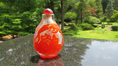 Antique Red Layered Glass Chinese Snuff Bottle