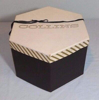 "VTG Collins Hexagon Cardboard Hat Box Black White Gold 10"" x 11.5"" x 7"""