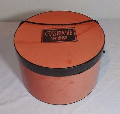 "VTG Oestreicher Winner Red & Black Round Cardboard Hat Box 11"" x 7"""