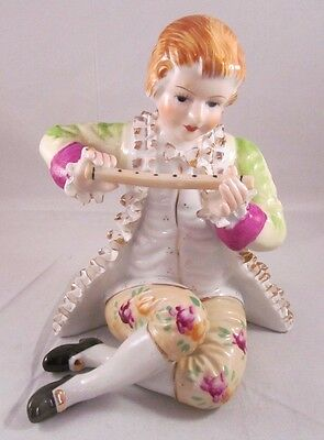 "Vintage French Victorian 6.5"" Figurine Boy Playing Flute - Japan"