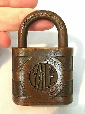 """Vintage/Antique YALE & TOWNE BRASS PADLOCK LOCK 3"""" X 2"""" Made in USA"""