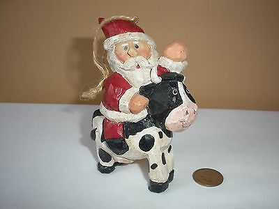Vintage Eddie Walker Midwest Santa On Cow Ornament, Signed, Rare Hard-To-Find!