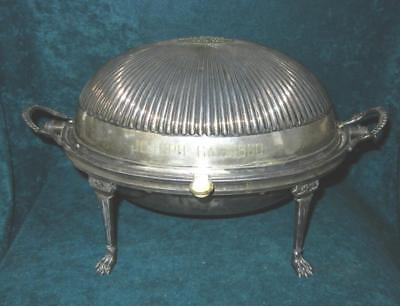 Vintage English Silver Plate Rolling Top Dome Breakfast Warmer Dish