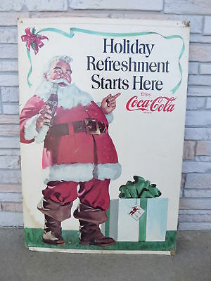 Vintage COCA-COLA 'Holiday Refeshment Starts Here' SANTA Litho Cardboard Display