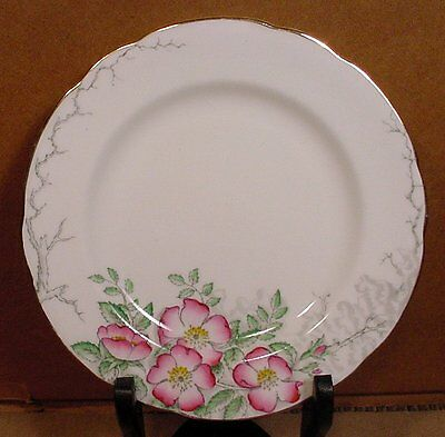 "Set of 4 6 3/4"" Bread or Salad Rose-of-England Plate Hammersley Made in England"