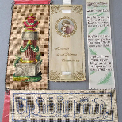 Lot 4 Antique Bible Book BOOKMARKS Victorian Punched Paper BERLNWORK Stevengraph