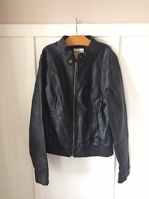 Old Navy Black Faux Leather Moto Jacket size Boys Medium  M 12 Womens Small S