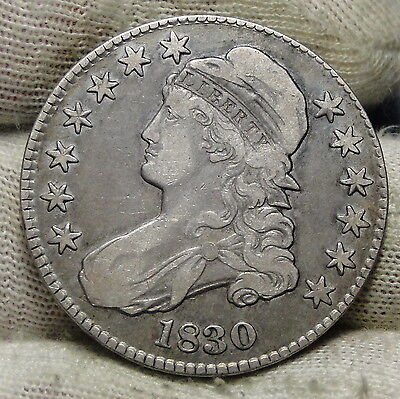 1830 Capped Bust Half Dollar - 50 Cents .Nice Coin .. Free Shipping  (5853)