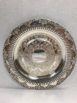 Vintage EP Copper Plate Silverplate Etched Grapes leaves OLD ENGLISH dish
