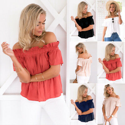 New Women's Ladies Off Shoulder Blouse Top Loose Casual Short Sleeve Shirt Tops